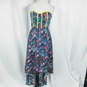 Xhilaration Floral Print Strapless High-low Dress
